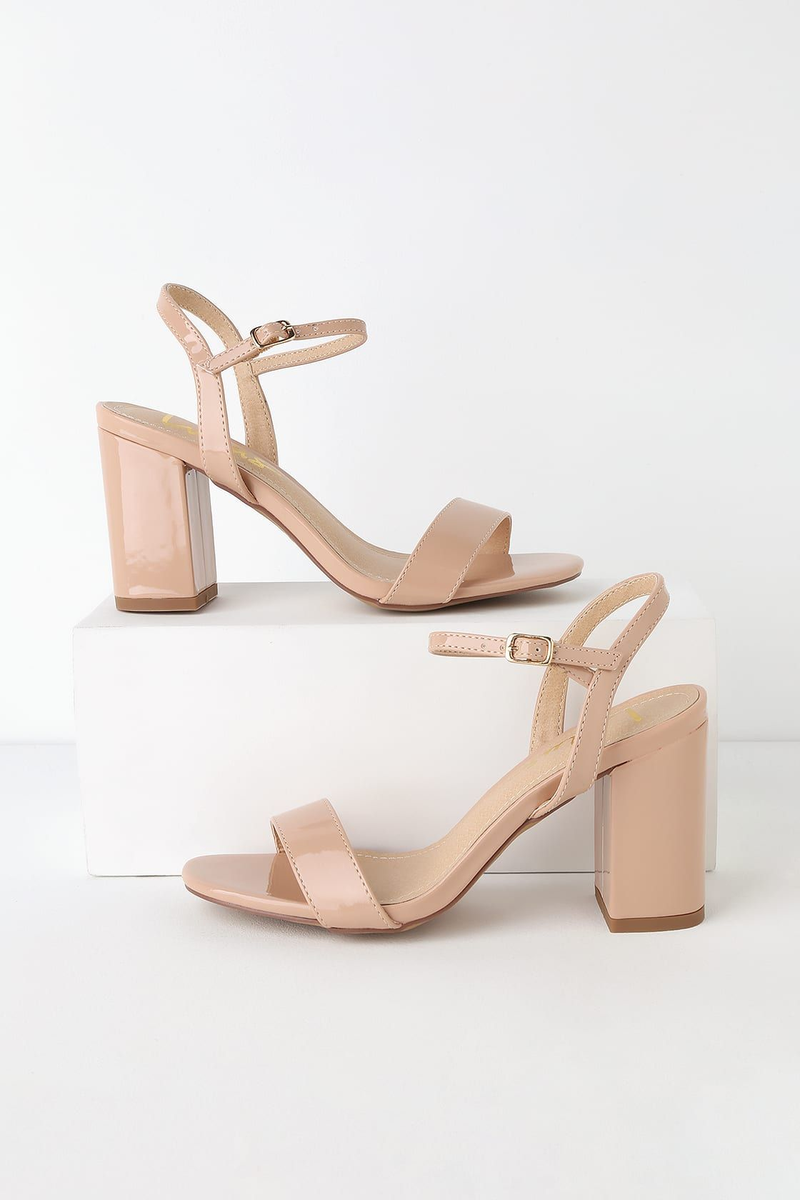 a83916821ff1 Cute Chunky Heel Sandals - Nude Patent High Heel Sandals