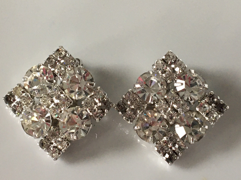 Vintage Silver Tone Rhinestones Square Earrings