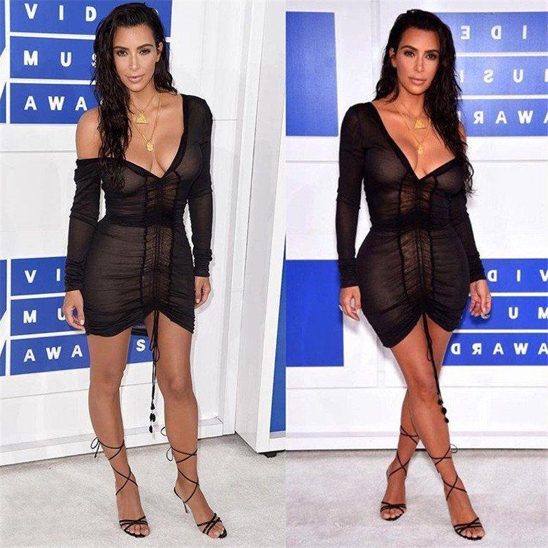 3e5ef563c184 Kim Kardashian Deep V-Neck Sheer Draw String Bodycon Dress