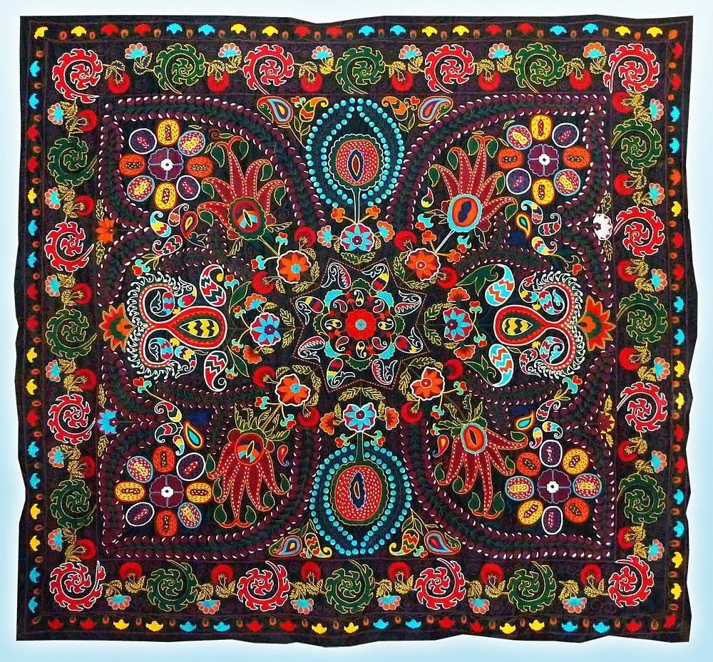 Rare stunning special uzbek lakay silk handmade embroidery suzani a