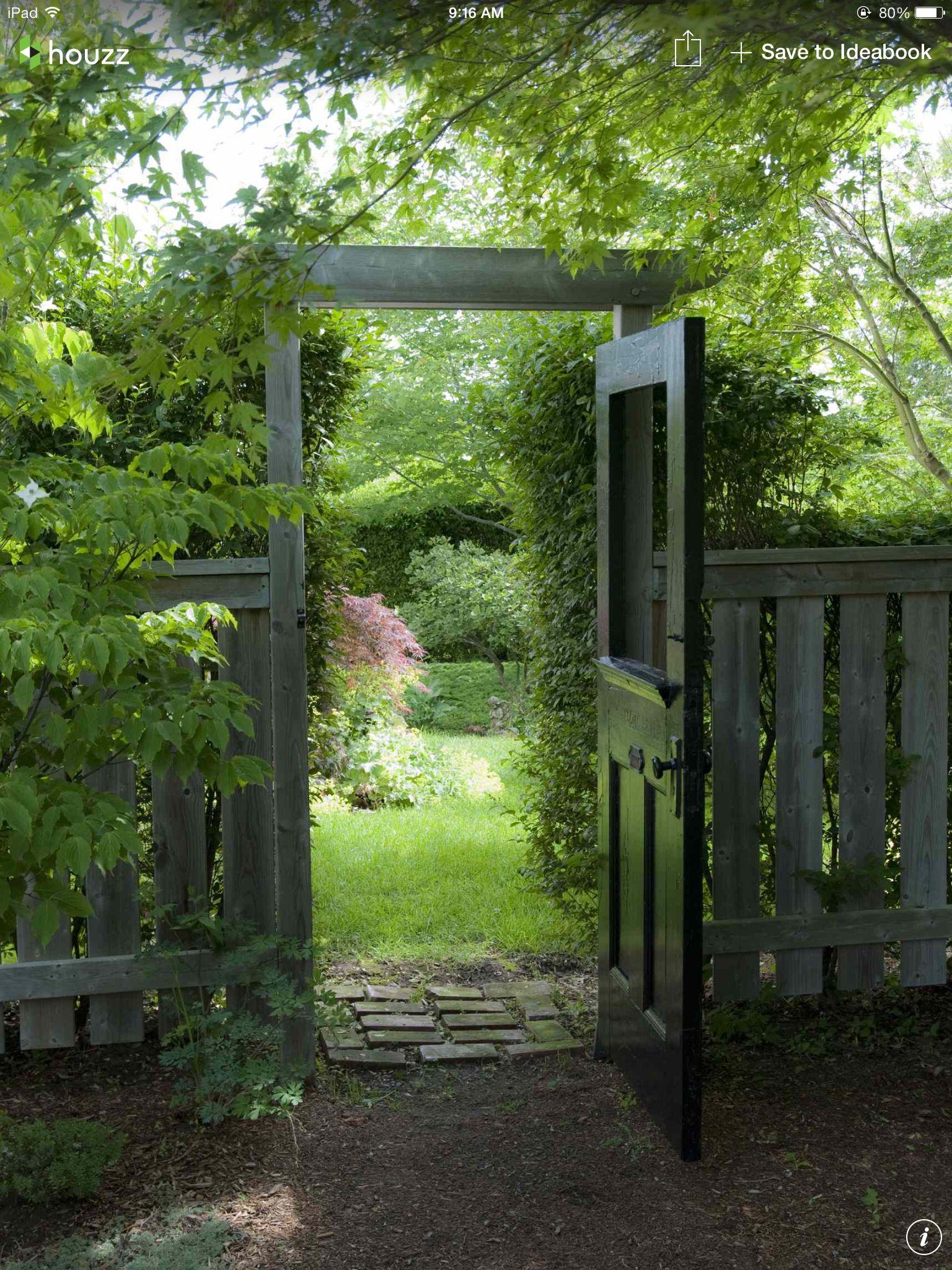 Garden entrance with an old door.
