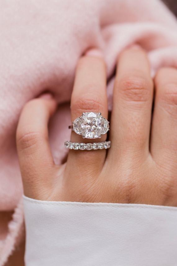 e6866e2a6 ... Diamond Celestial Solid 14 Karat Gold Engagement Ring. CELINE HALF  ETERNITY (3mm) 12-Stone 3mm Crushed Ice Cushion Cut Moissanite  Anniversary/Wedding ...