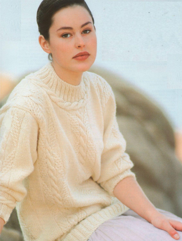 0bc042dae54a Womens Aran Sweater PDF Knitting Pattern   Ladies 32 - 34