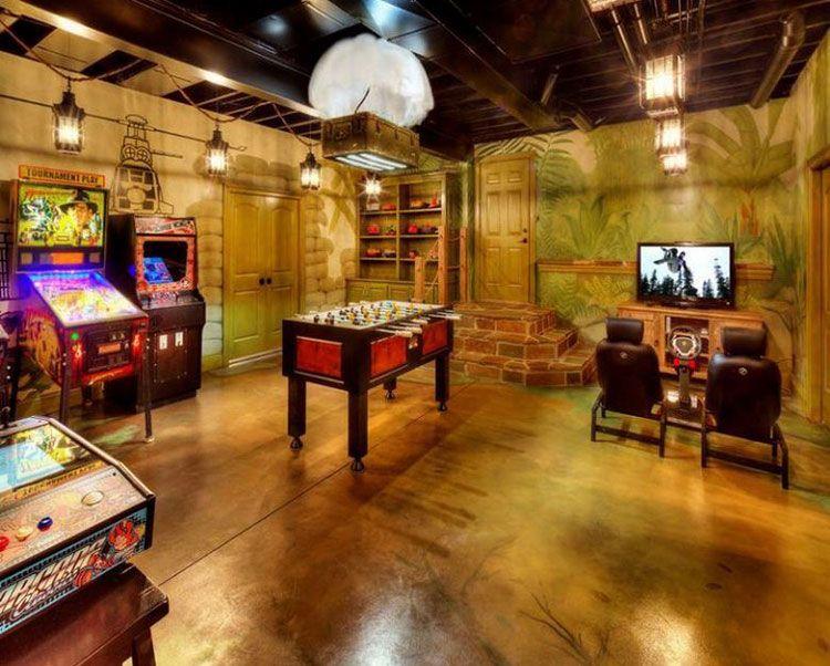 40 Best Video Game Room Ideas Cool Gaming Setup 2020 Guide Game Room Basement Video Game Rooms Game Room Design
