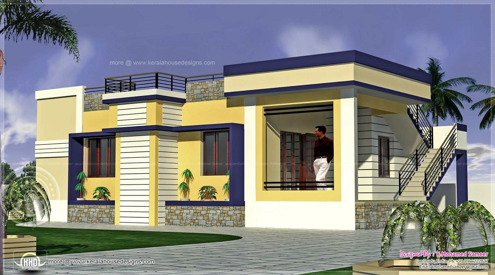 House details ground floor feet flat roof contemporary for Home models in tamilnadu pictures