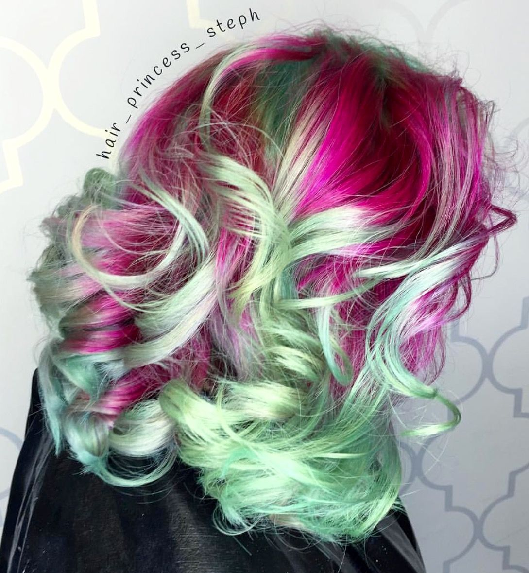 Pink and mint green hair