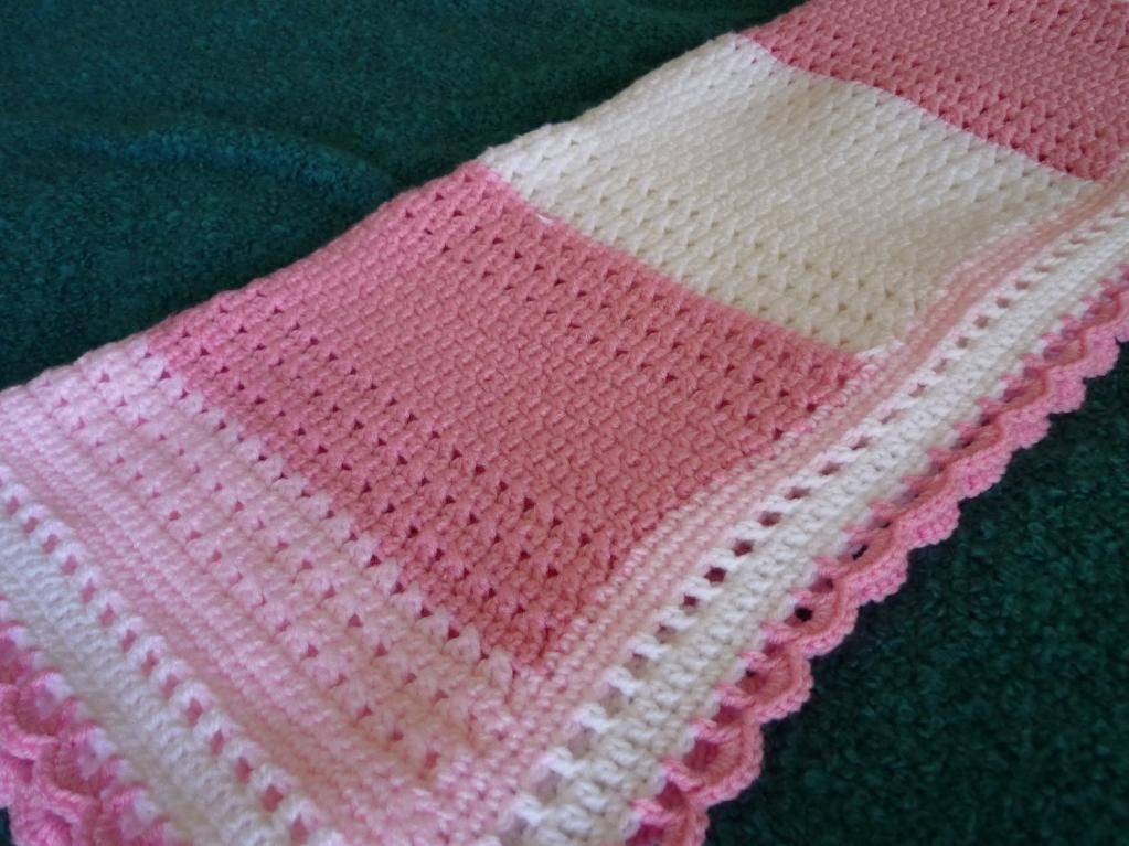 Different Crochet Patterns For Baby Blankets : Crocheting: Pink and White Crochet Lace Baby Blanket.....I ...