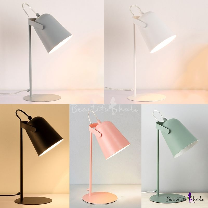 Metallic Cup Shade Reading Light Colorful Contemporary 1 Head Desk Lamp For Bedside Kids Room Desk Lamp Kids Desk Lamp Pink Desk Lamps
