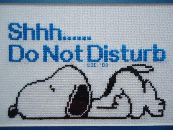Sleeping Snoopy Do Not Disturb Cross Stitch by CraftsbyCummins