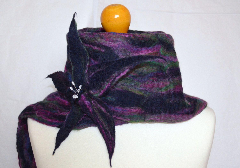 Dark blue, purple, pink, green merino wool felted scarf wrap with flower brooch.Handmade by jaracedesigns on Etsy