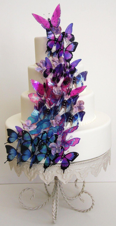20 pack mixed purple 3d stick on butterflies weddings