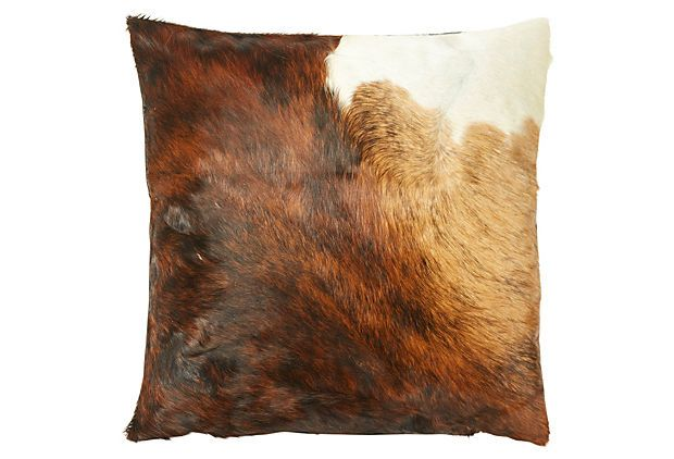 Dexter Hide Pillow, Brown/White $135 (one left)