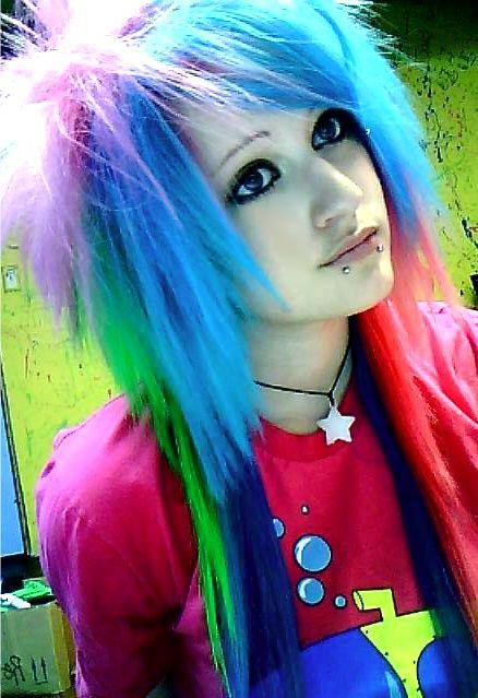 rainbow hair dark eye make