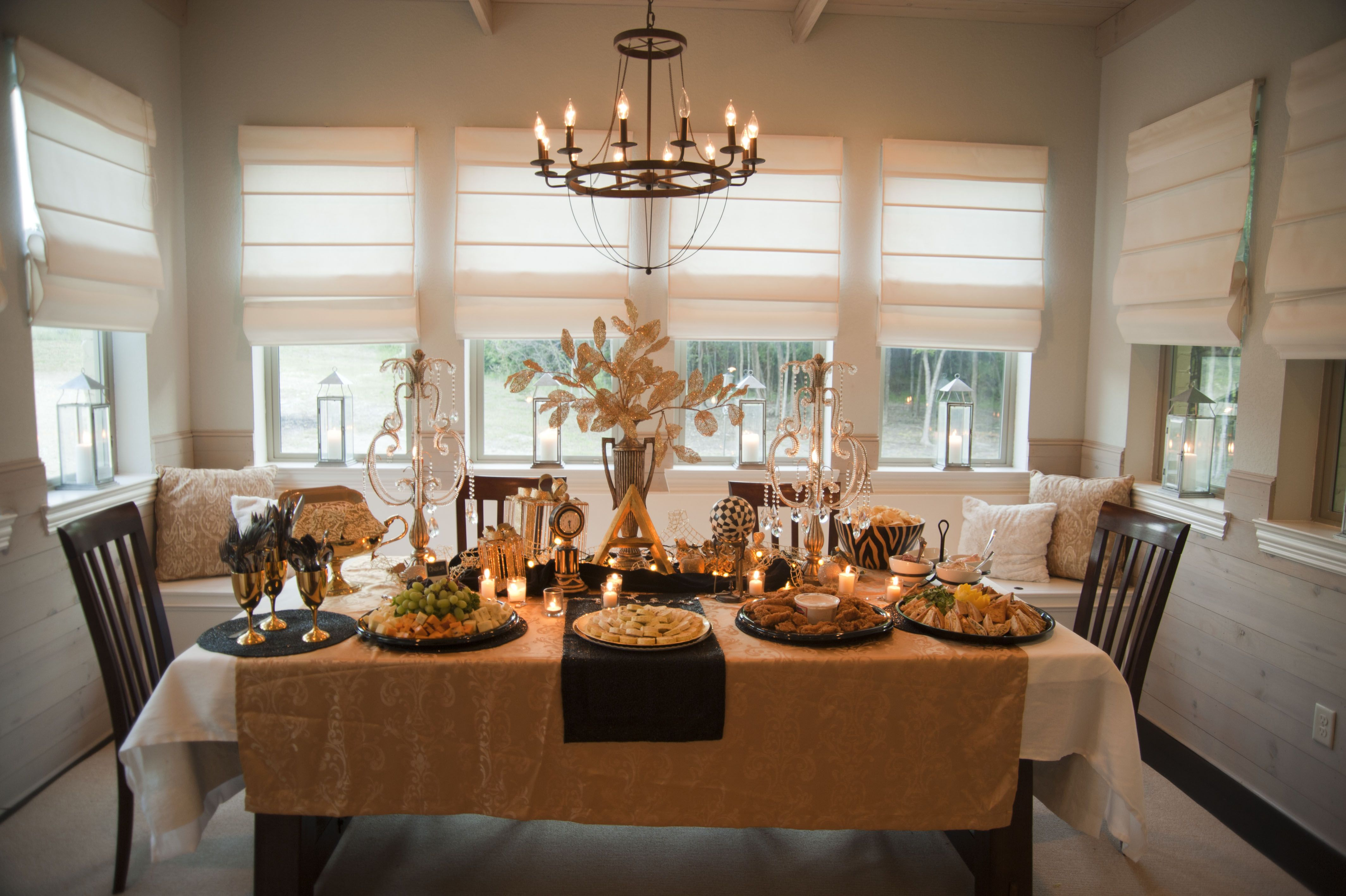 Dining Room Food Table Embellished With Gold For A 1920 S Flare Great Gatsby Party Table Settings Table