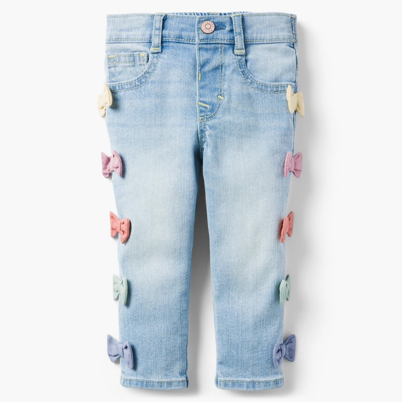 523e4022640 Baby Girl Light Indigo Bow Skinny Jeans by Gymboree