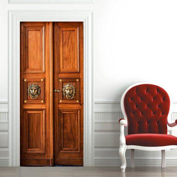 Door Wall Sticker Old Wood Door / SelfAdhesive Vinyl