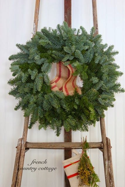 FRENCH COUNTRY COTTAGE Simple Christmas Wreaths christmas - country christmas decorations