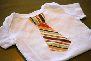 Appliqued Tie Onesie Tutorial.  I love making these for baby boy gifts!