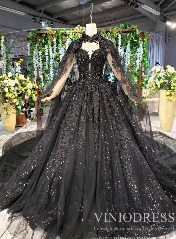 Sparkly Black Lace Ball Gown Wedding Dress With Cap Vintage Formal Dre Viniodress In 2020 Black Lace Ball Gown Black Wedding Gowns Wedding Dresses Lace Ballgown