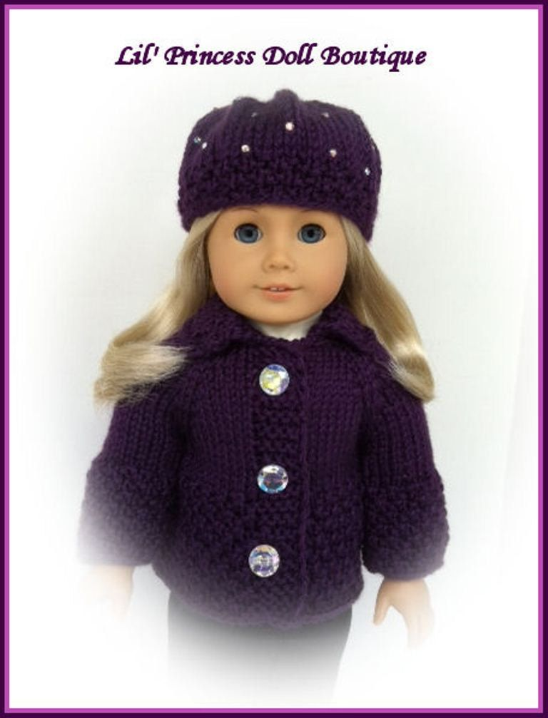 Hand Knit Sweater And Beret Hat Made For American Girl Dolls Choice