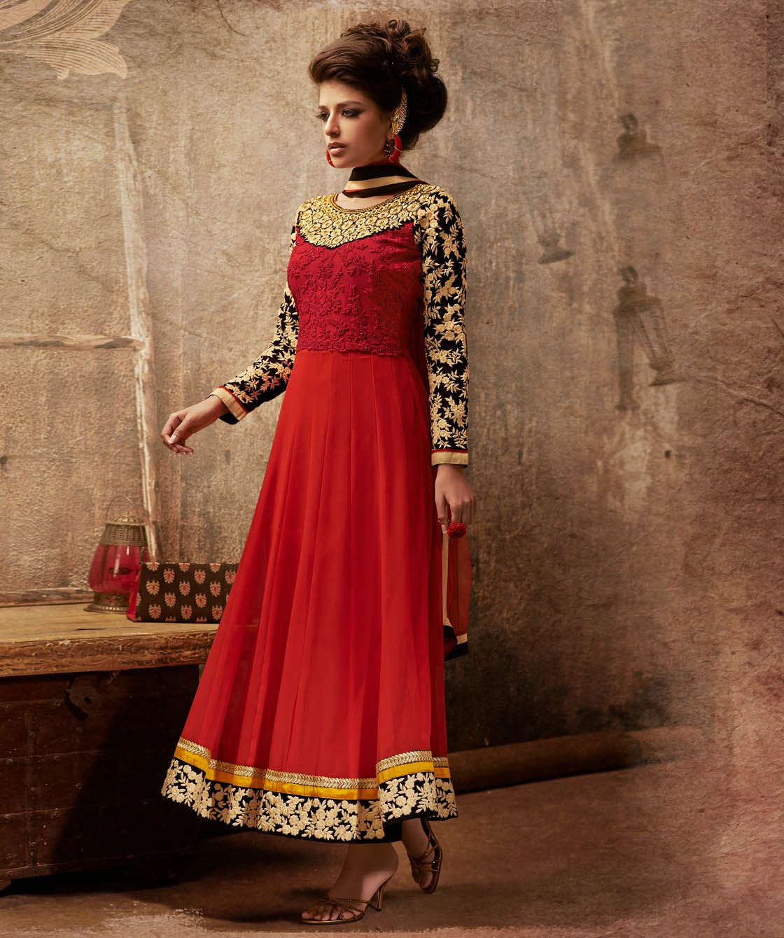 Buy poly georgette suit with dupatta online at best price in india