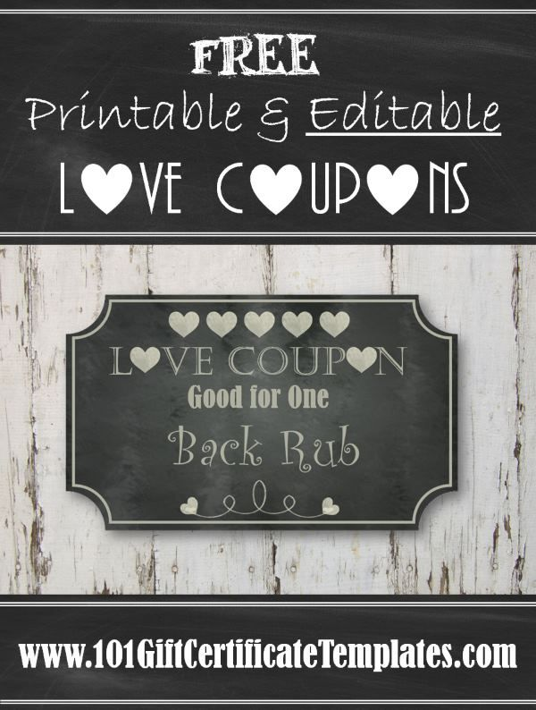 Free printable and editable love coupons for him or her Customize - free templates for coupons