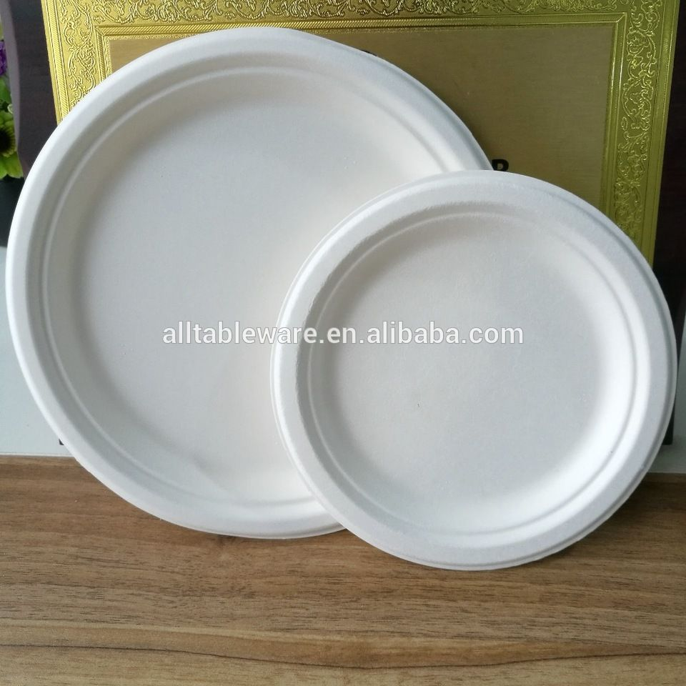 Hot Sale Stocked Microwavable 100% Biodegradable 9 Inch Disposable Sugarcane Bagasse Round Plate & Hot Sale Stocked Microwavable 100% Biodegradable 9 Inch Disposable ...