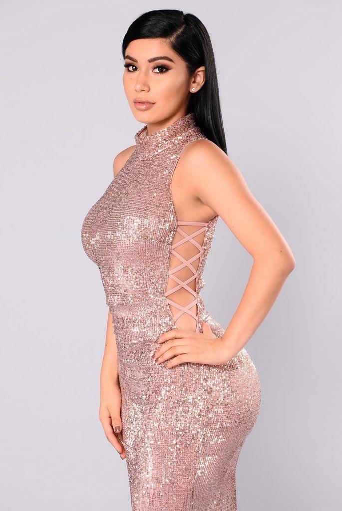 Having A Ball Sequin Dress - RoseGold | Mujeres bellas, Curvas y ...
