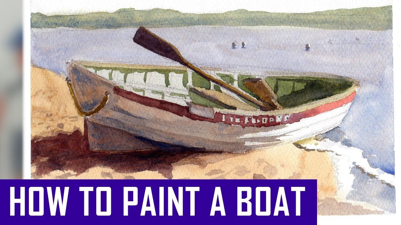 How to Paint a Boat in Watercolor - Watercolor Painting Process (Waterco...