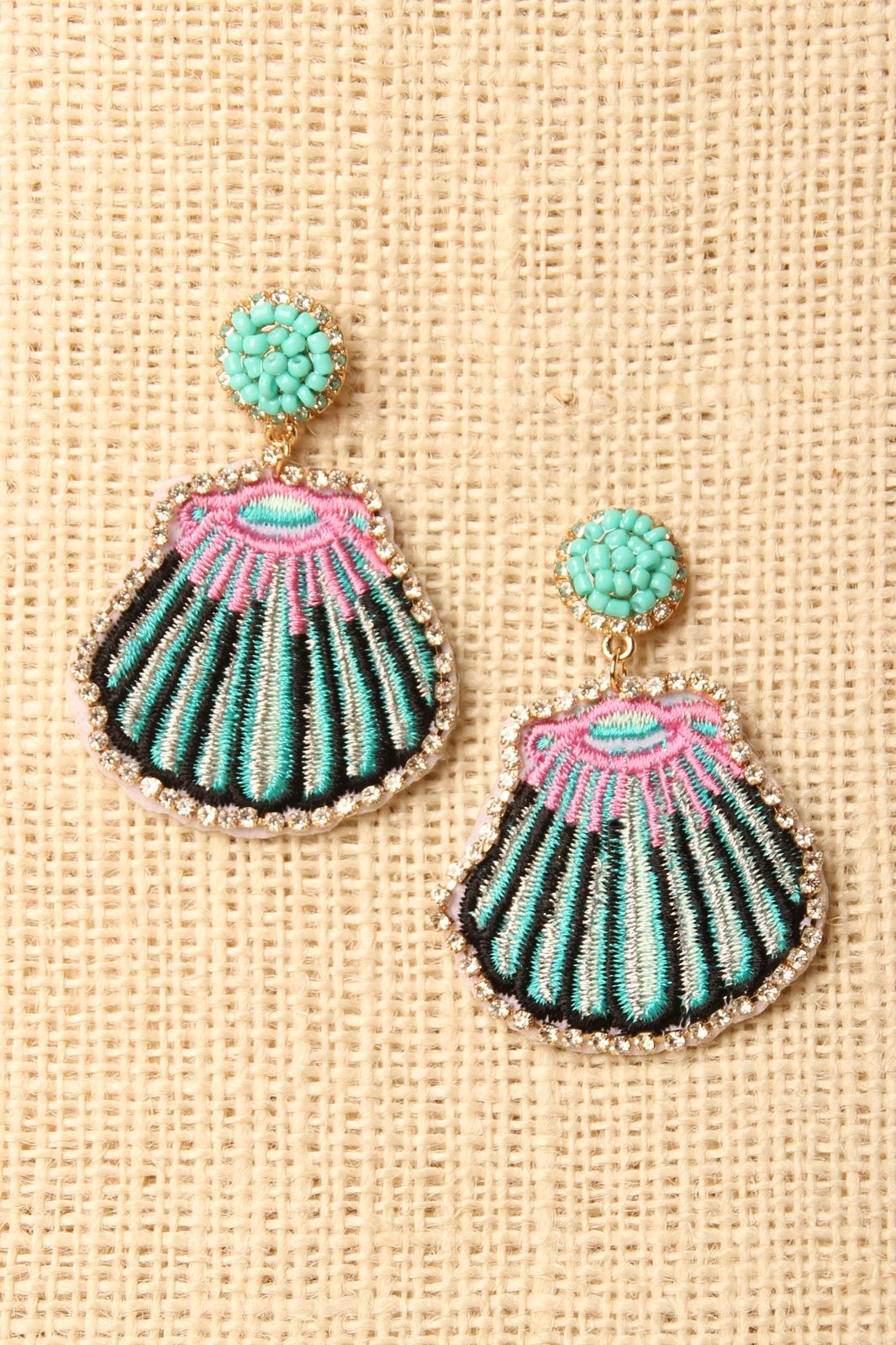 9a6dec136 Rhinestone Embroidered Seashell Earrings Online Boutiques, Girl Closet,  Rich Girl, Drop Earrings,