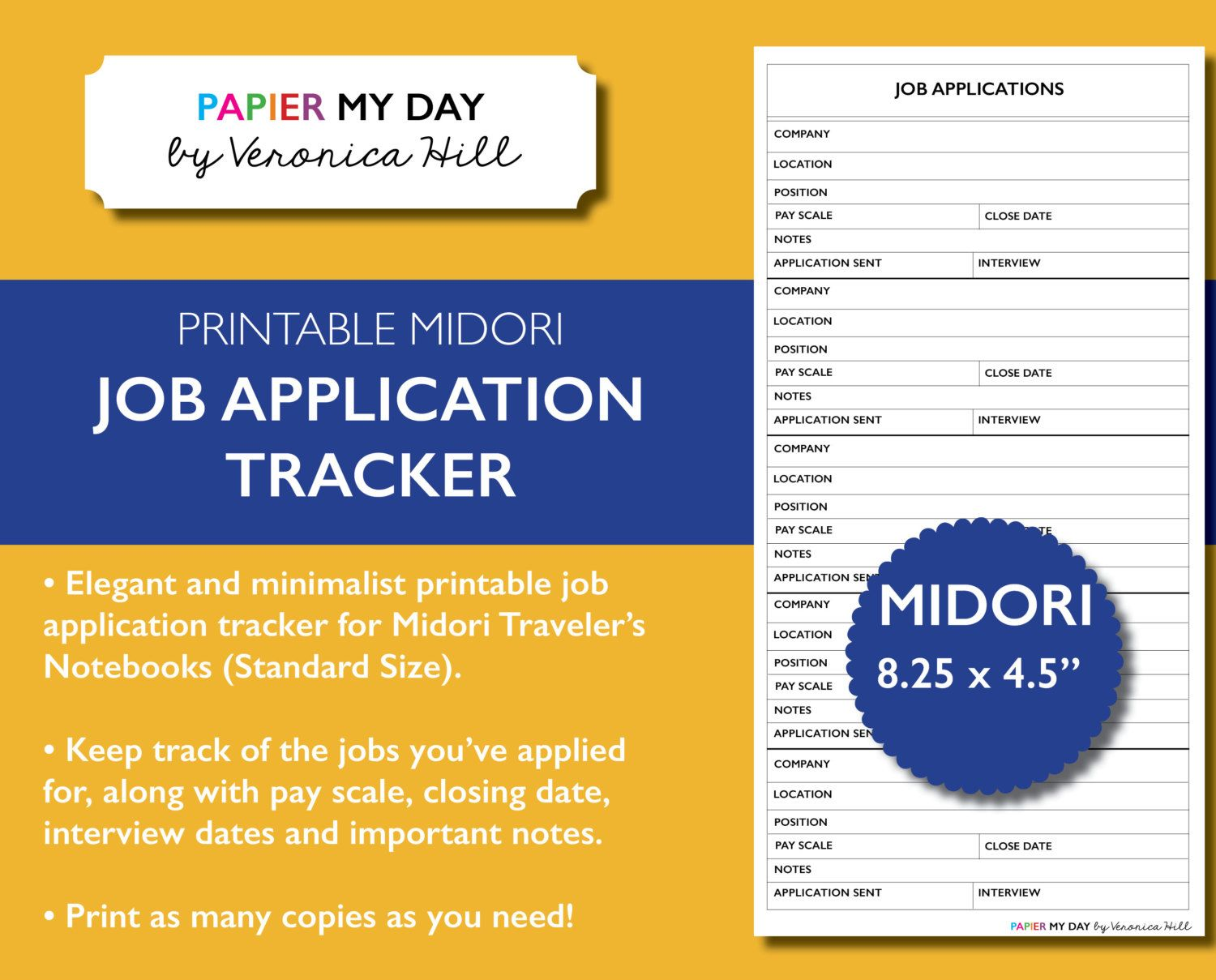 Midori Travelers Notebook Job Application Tracker  Printable Job