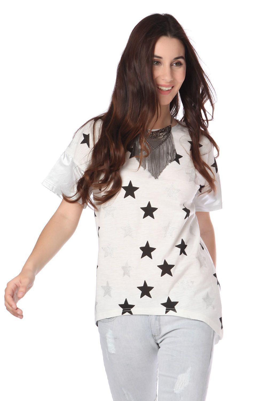 Q2 White T-Shirt With Stars Print