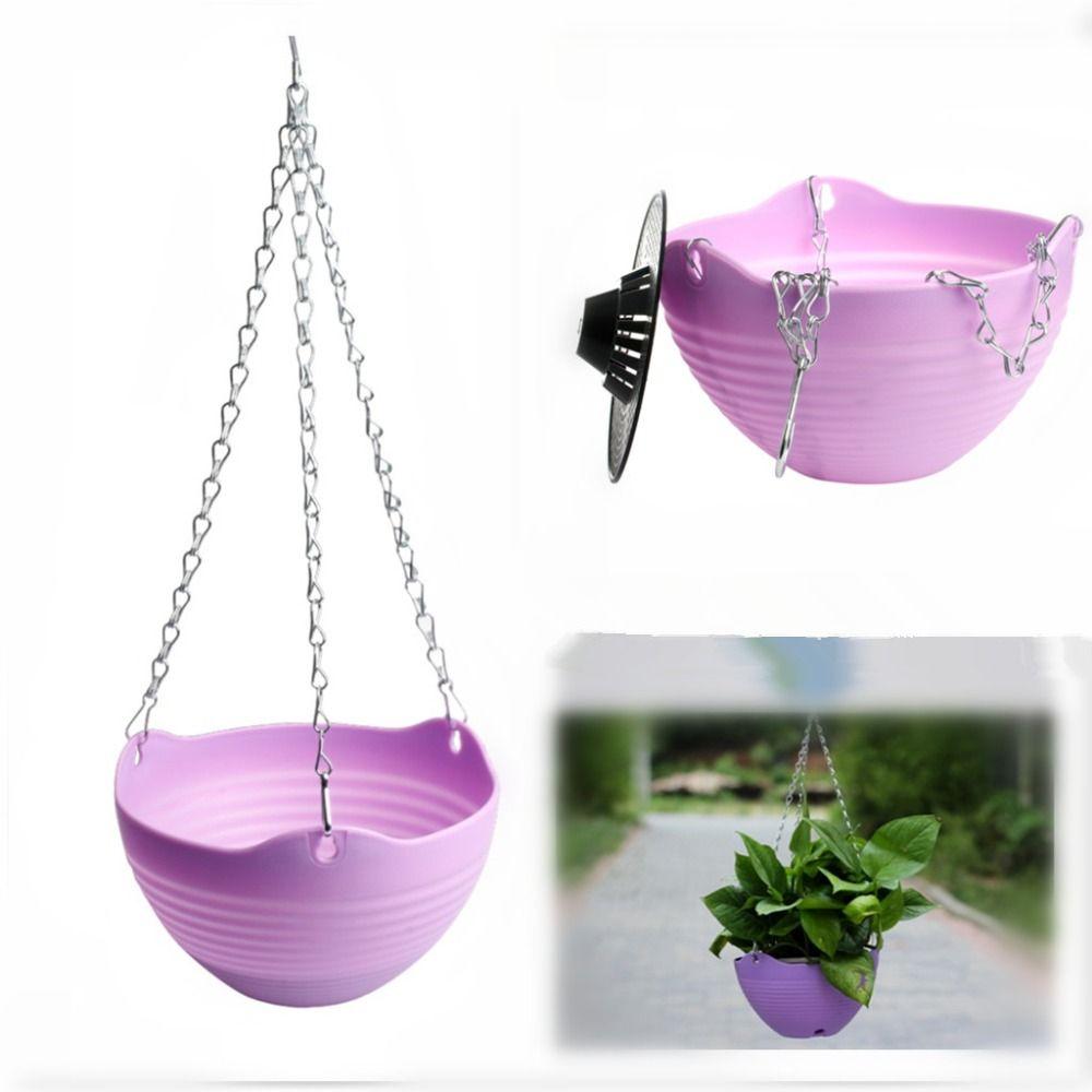 US Plastic Hanging Flower Pot Chain Plant Planter Basket Garden Home Decors Use