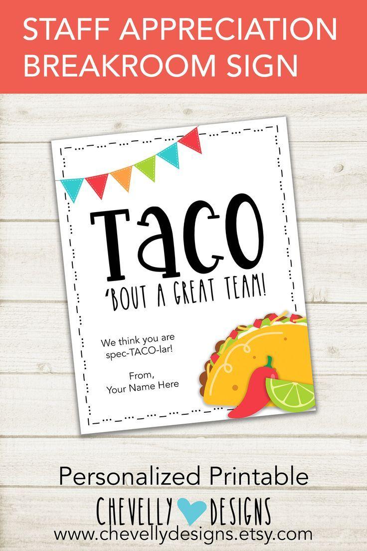 Personalized Taco Bar Staff Appreciation Sign | Printable - Digital File | 8x10 | SIGN-016