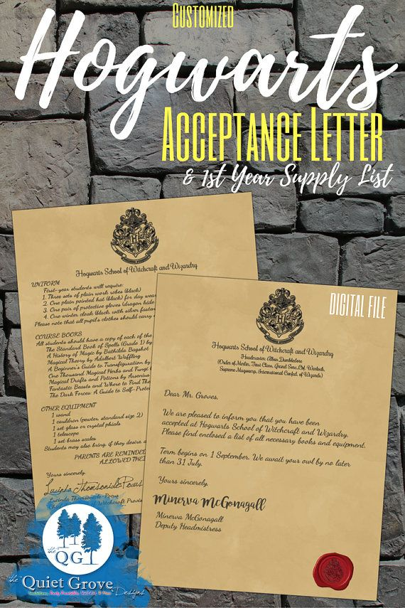 Customized Hogwarts Acceptance Letter and 1st Year Supply