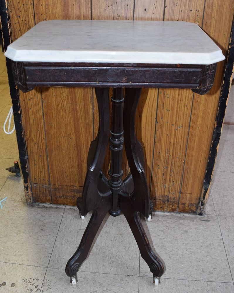 Antique Carved Wood Victorian Marble Top Lamp/Side Table On Wheels  #Victorian