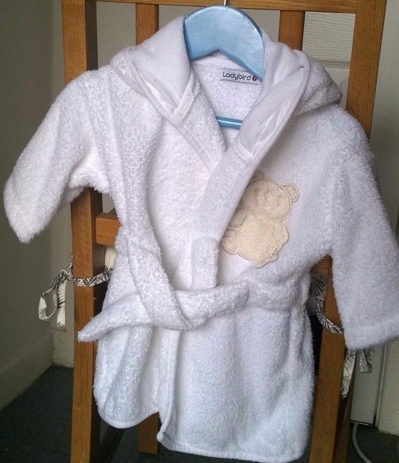 Babies White Toweling Dressing Gown with hood Ladybird 3-6 months ...