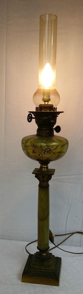 ancien lampe a huile xixe ou 1900 bronze verre emaille decors fleurs 83 cm 19e a ou sans m. Black Bedroom Furniture Sets. Home Design Ideas