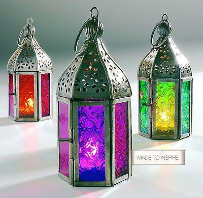 New indian moroccan mini iron tonal glass lantern tea light holder set of 3 moroccan tonal glass tea light lanterns workwithnaturefo