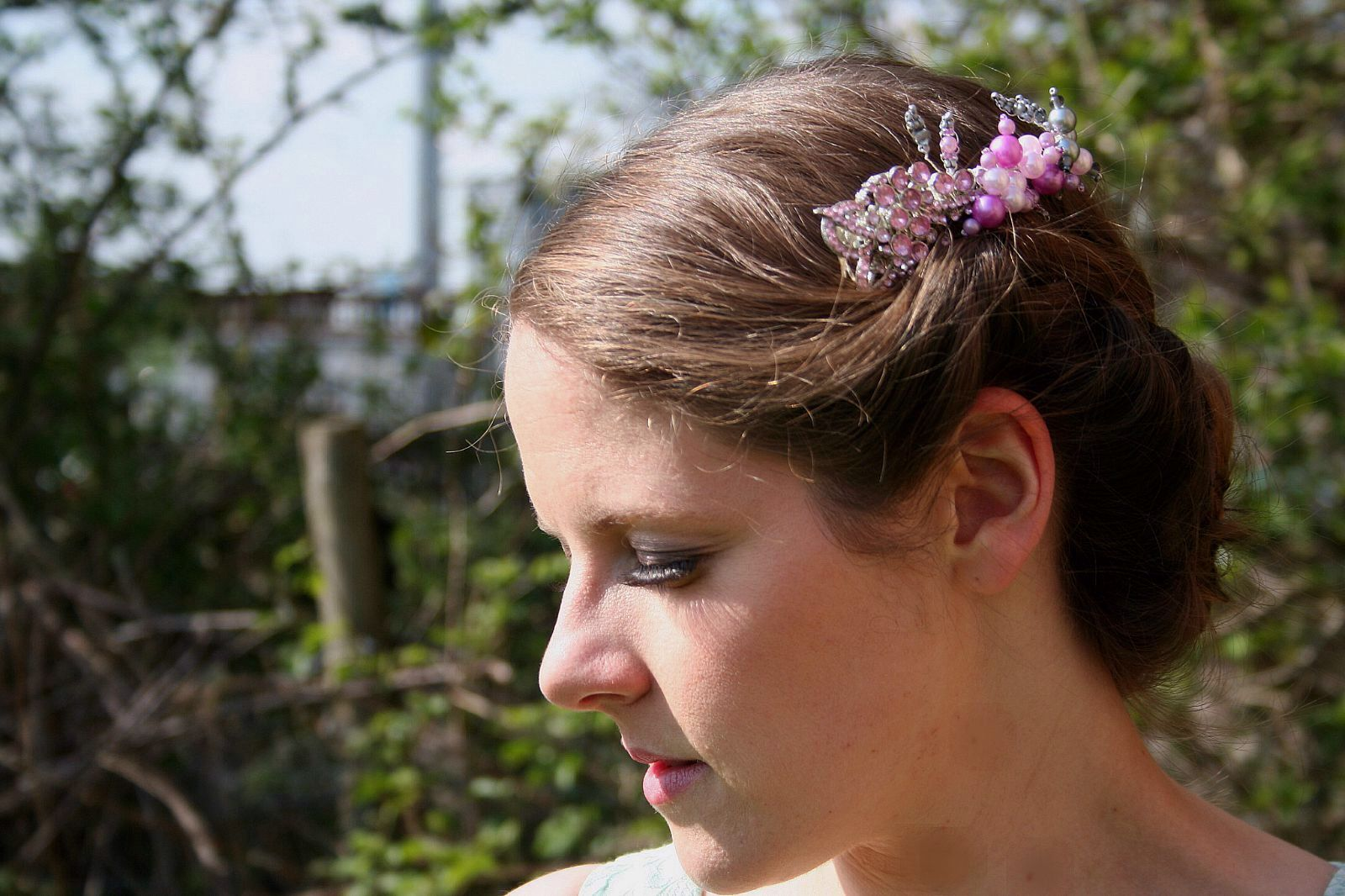 'Melissa' is an original design by Beatrice Bobbins. Created from vintage jewellery and pink pearls.