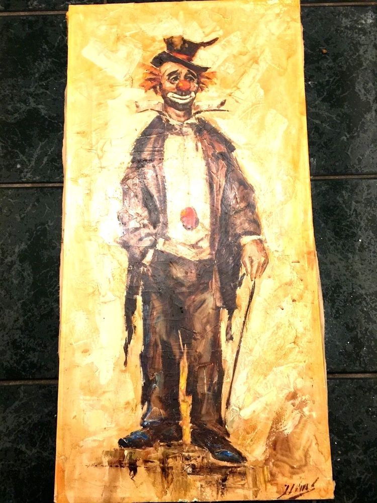 Clown Painting Mid Century Mod Wall Art Artist Signed Gold Brown ...