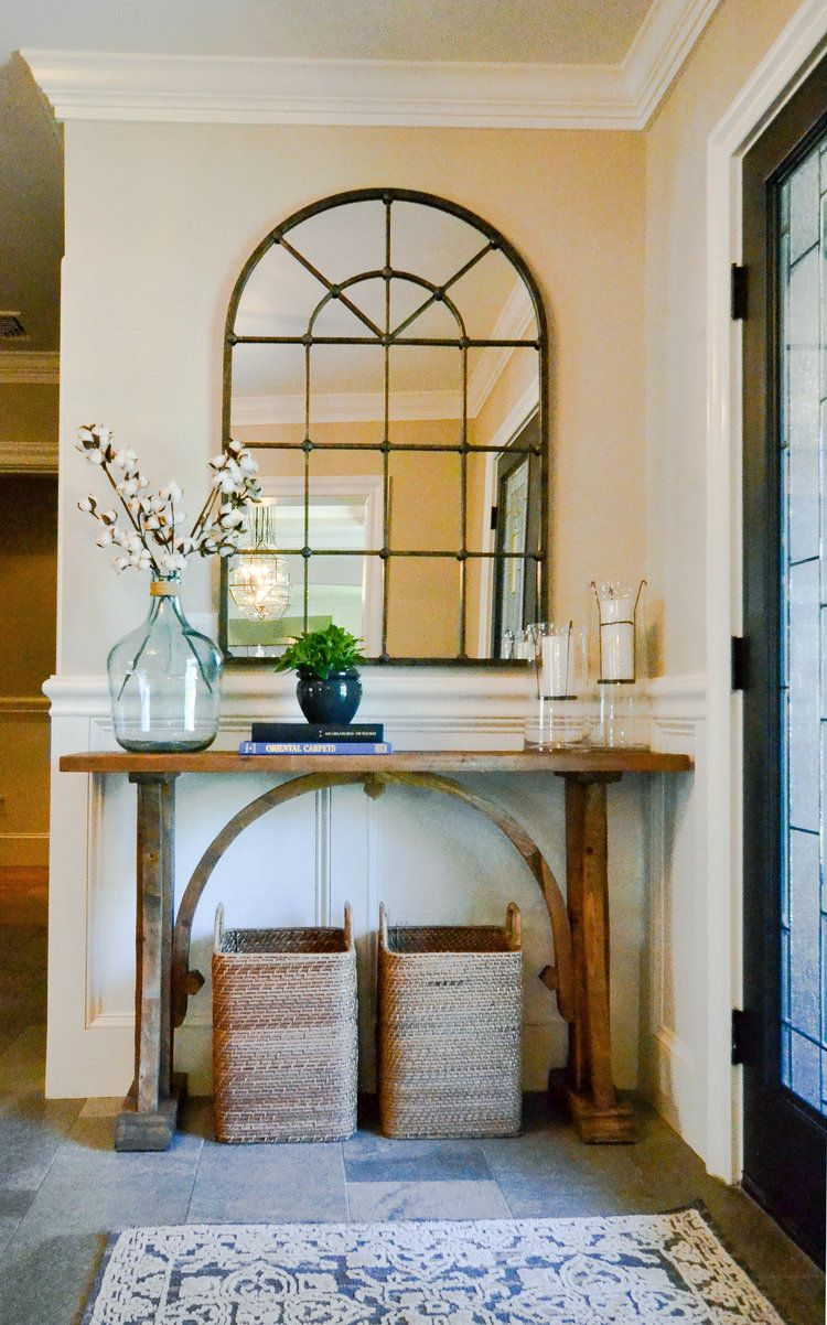 Windsor project rustic arch console table magnolia home rug windsor project rustic arch console table magnolia home rug window pane mirror west elm baskets rustic and farmhouse design with a refined elegance geotapseo Image collections