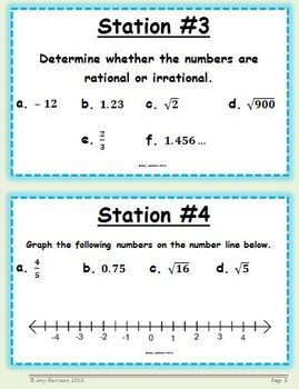 Irrational And Rational Numbers Task Cards 8 Ns A 1 8 Ns A 2 Math Stations Numbers Station Rational Numbers Math Stations