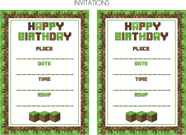 graphic regarding Printable Minecraft Invitations known as Free of charge Printable Minecraft Birthday Invites minecraft