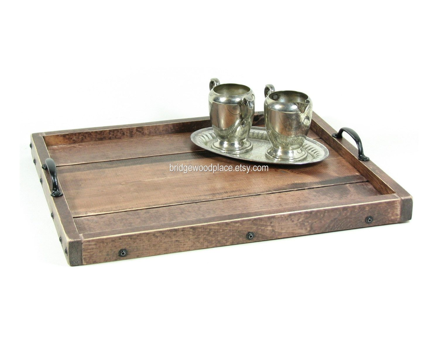 Ottoman Tray Wooden Coffee Table Tray Serving Tray With Handles. $50.00,  Via Etsy.