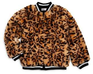 Mini Series Girls Faux Fur Leopard Print Bomber Jacket Little