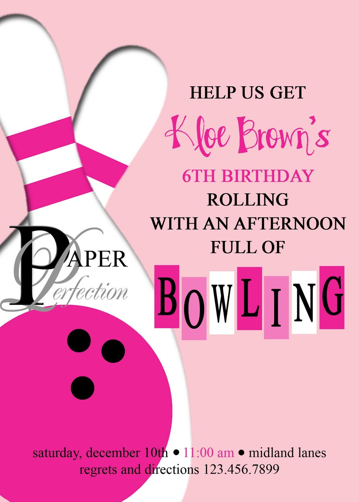 Sarah Johnnsons Bowling PartySaturday Sept 6thFrom 1230330 – Bowling Invitation Template