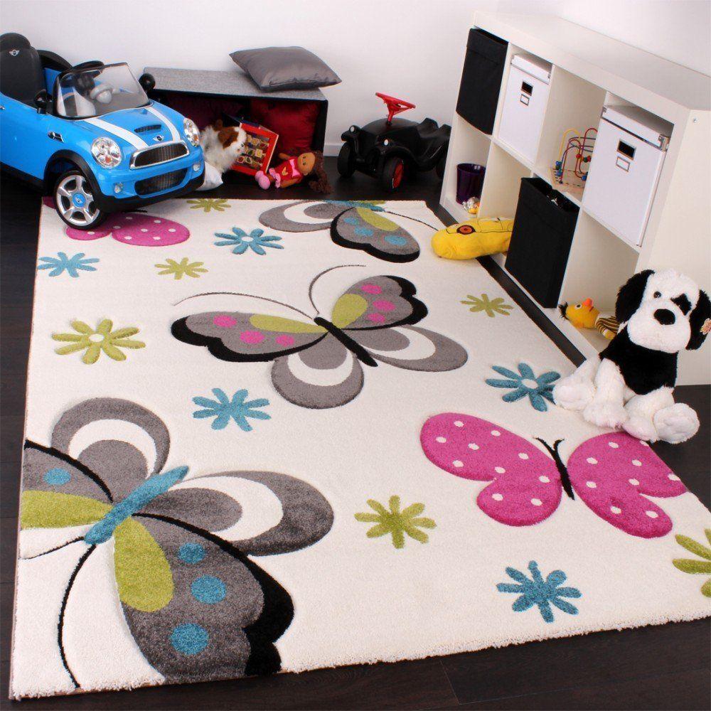 Designer Rug Butterflies Design Modern Carpet Childrens Bedroom Rug Pink Green