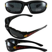 419c835590 Birdz Oriole Flame Design Motorcycle Glasses with Smoke Shatterproof Anti-Fog  Polycarbonate Lenses and Wind