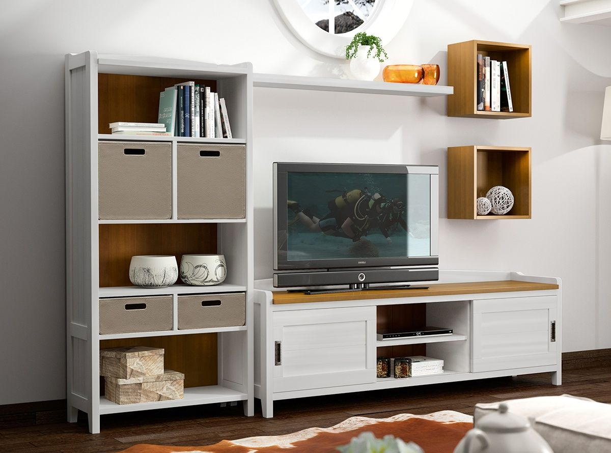 Conjunto Para Salon En Madera Maciza Color Blanco Decape Y Tabaco La Estanteria Incorpora 4 Contenedores En Piel Col Muebles Salon Muebles Muebles Para Tienda